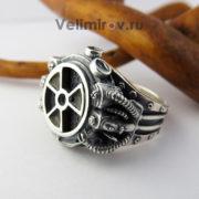 Перстень Сталкер из серебра с чёрной эмалью