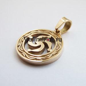 Оберег Символ рода из золота с орнаментом