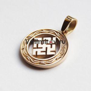 Оберег Цветок Папоротника из золота с орнаментом