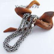 Серебряная цепь Византийское плетение.