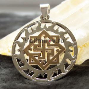 Оберег Валькирия в солнечном круге серебро с золотом