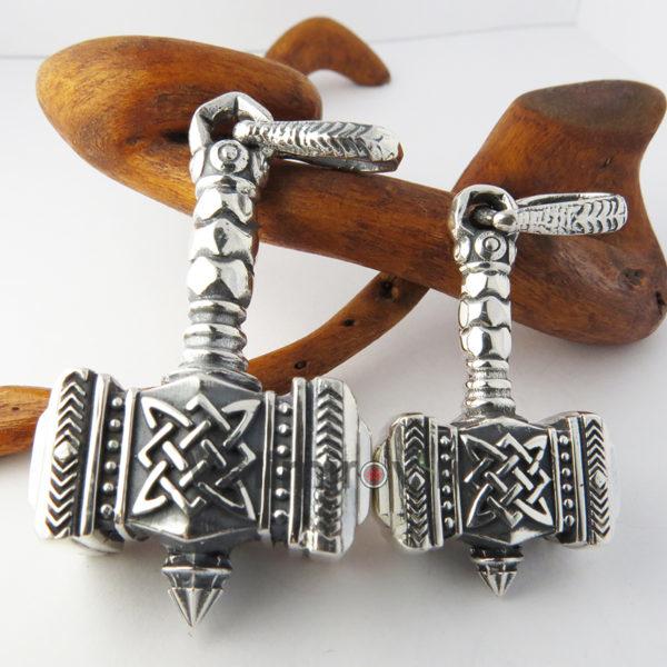 Оберег Молот Сварога богатырский из серебра