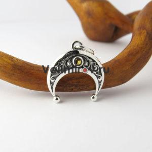 Оберег Лунница из серебра с цитрином маленькая
