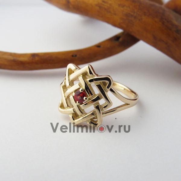 Кольцо Звезда Лады с рубином